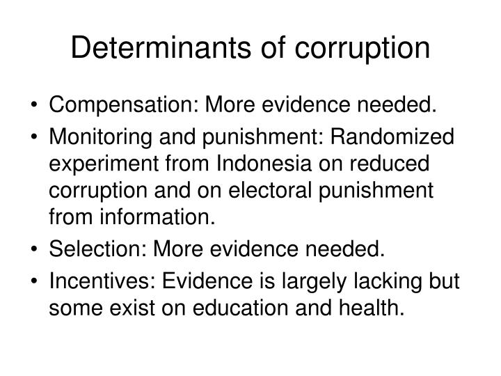 Determinants of corruption