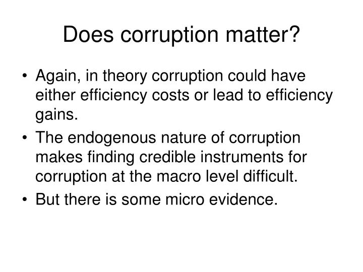 Does corruption matter?