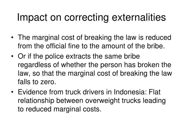 Impact on correcting externalities