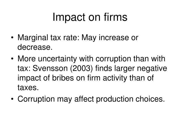 Impact on firms