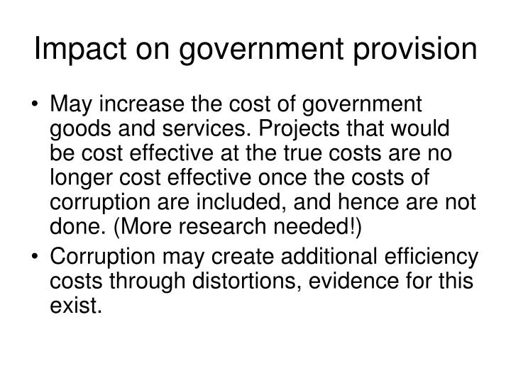 Impact on government provision