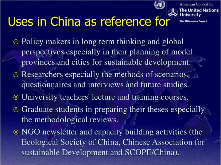 Uses in china as reference for