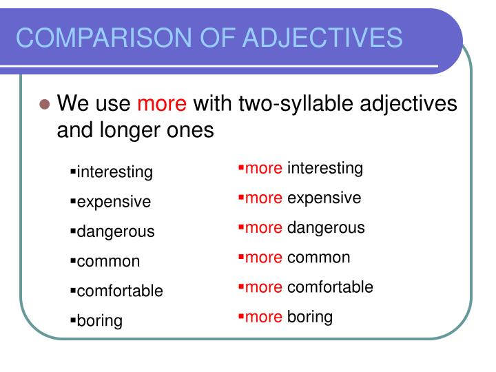 Comparison of adjectives1