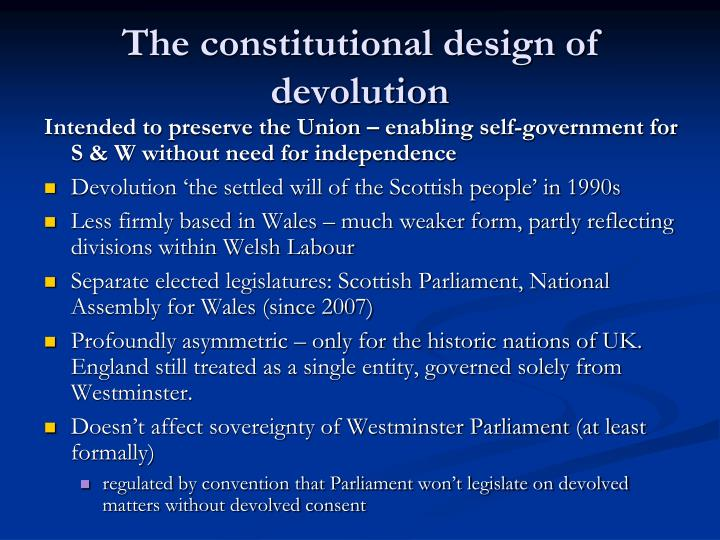 The constitutional design of devolution