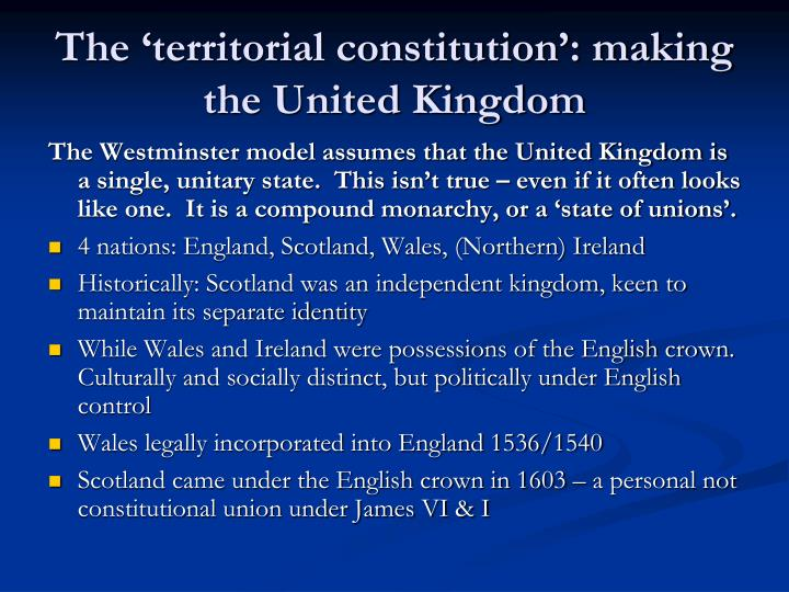 The 'territorial constitution': making the United Kingdom
