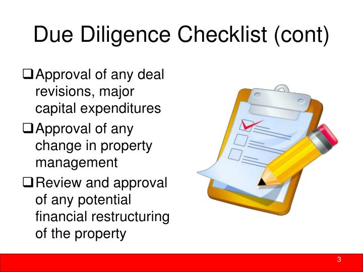 Due Diligence Checklist (cont)