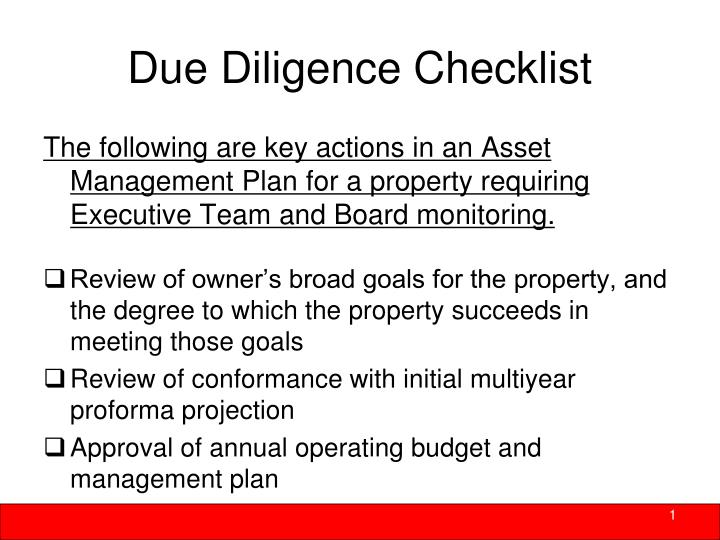 Due Diligence Checklist