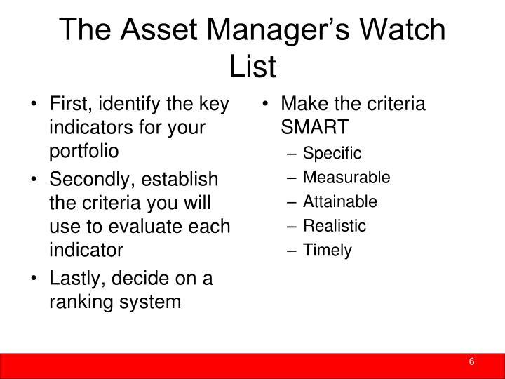 Make the criteria SMART