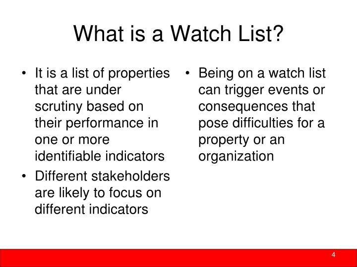 It is a list of properties that are under scrutiny based on their performance in one or more identifiable indicators