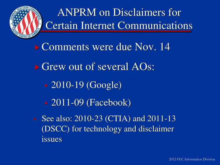 ANPRM on Disclaimers for Certain Internet Communications