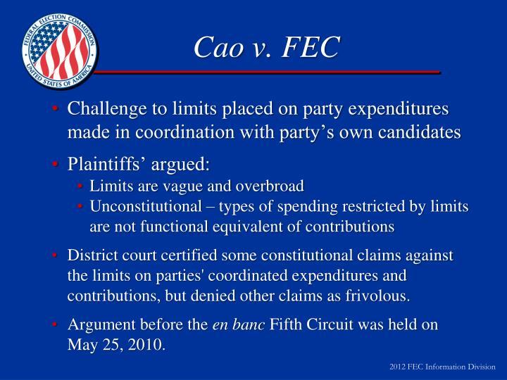 Cao v. FEC