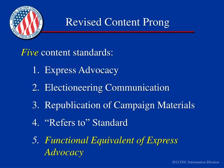 Revised Content Prong