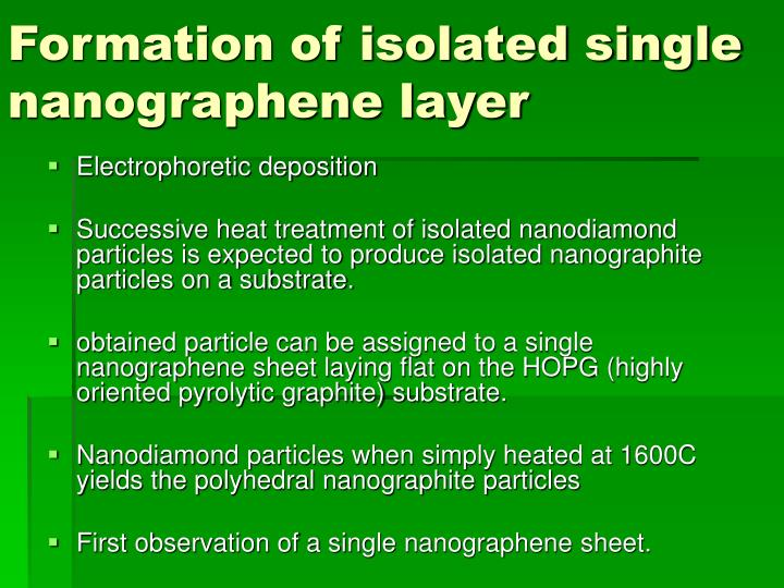 Formation of isolated single nanographene layer