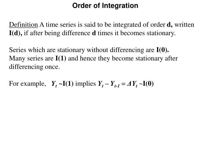 Order of Integration