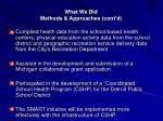 what we did methods approaches cont d