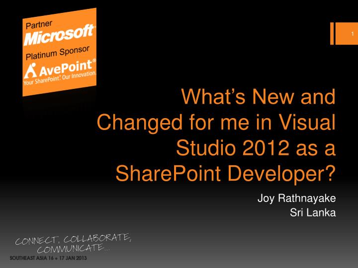 What s new and changed for me in visual studio 2012 as a sharepoint developer