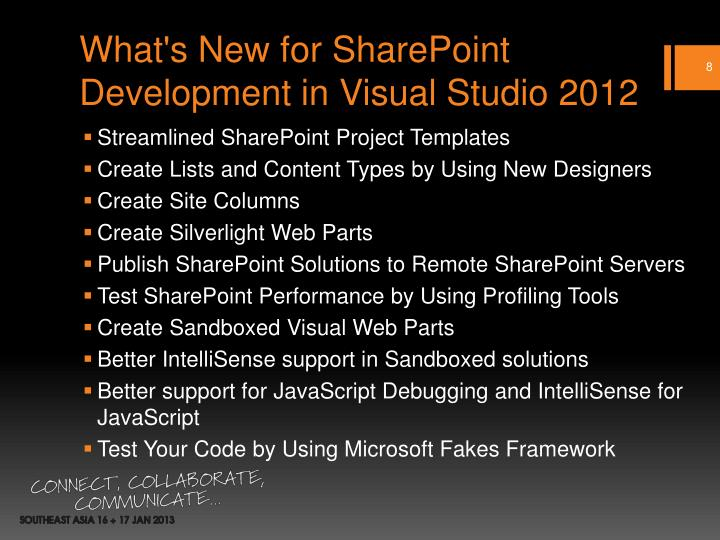 What's New for SharePoint Development in Visual Studio 2012