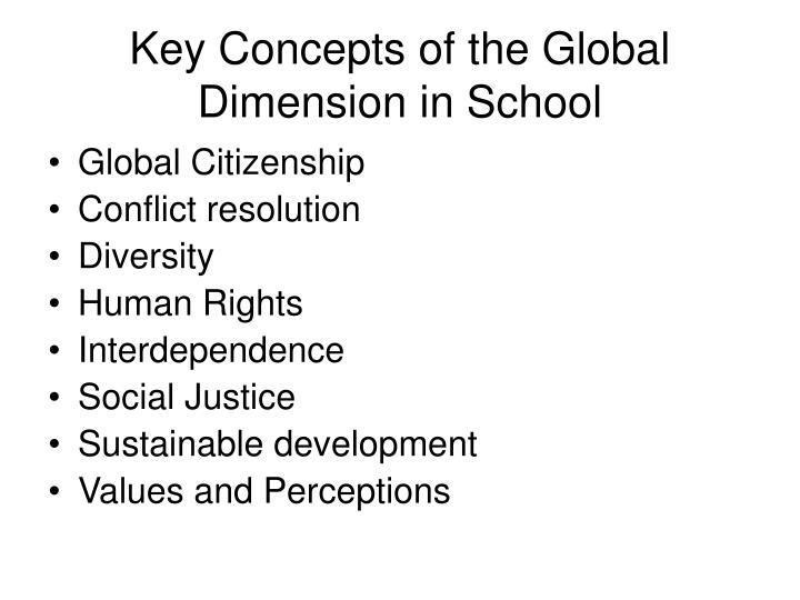 Key Concepts of the Global Dimension in School
