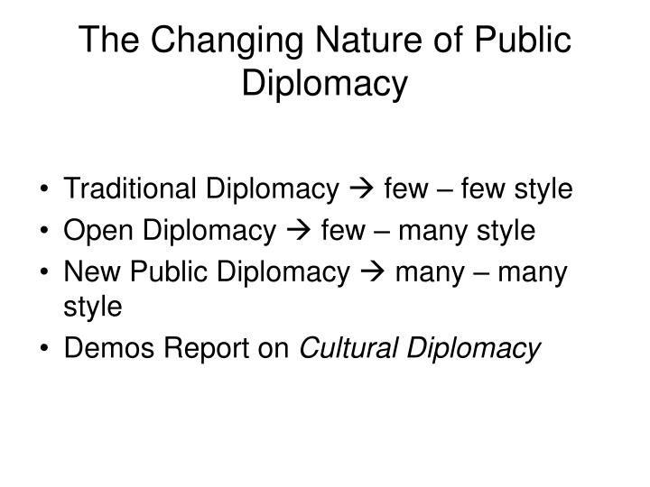 The Changing Nature of Public Diplomacy