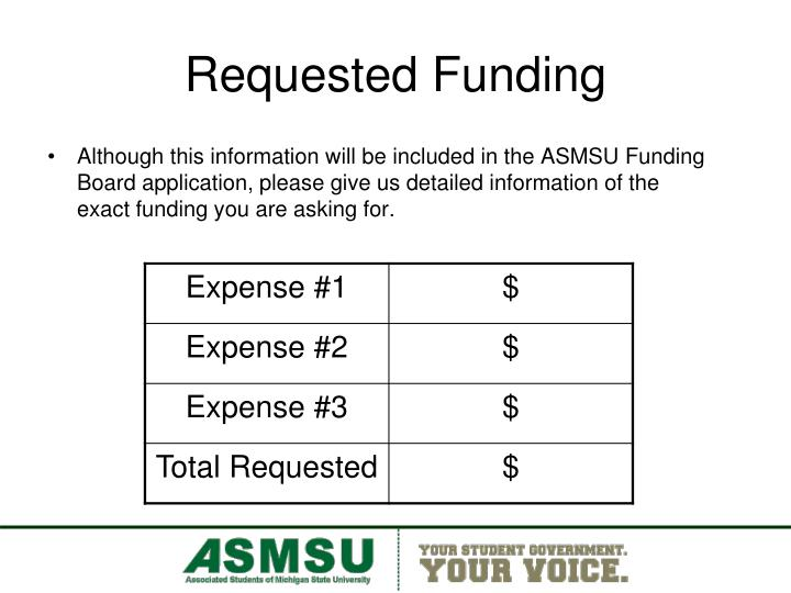 Requested Funding