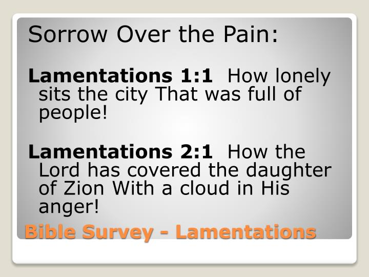 Sorrow Over the Pain: