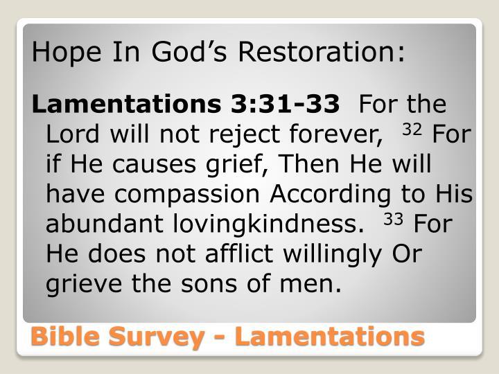 Hope In God's Restoration: