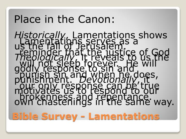 Place in the Canon: