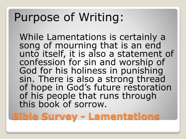 Purpose of Writing: