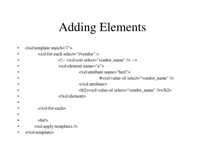 Adding Elements