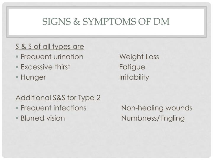 Signs & Symptoms of DM