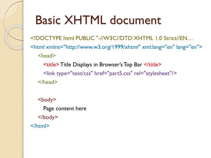 Basic XHTML document