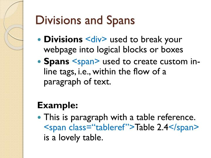 Divisions and Spans