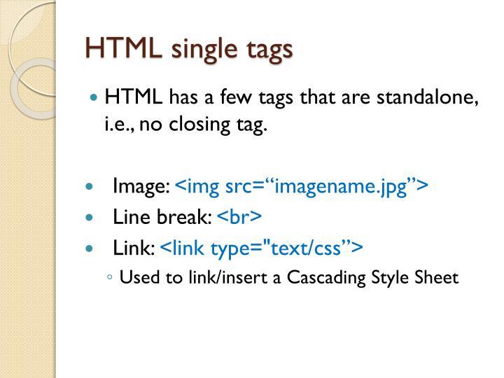 HTML single tags