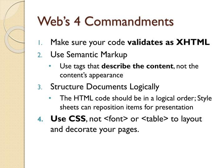 Web's 4 Commandments