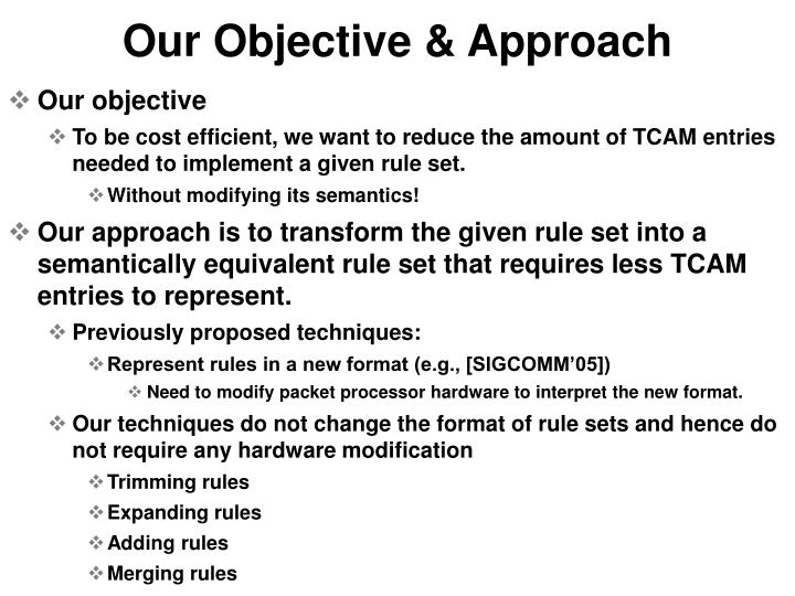 Our Objective & Approach