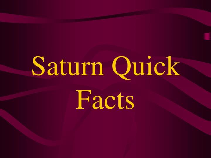 Saturn Quick Facts