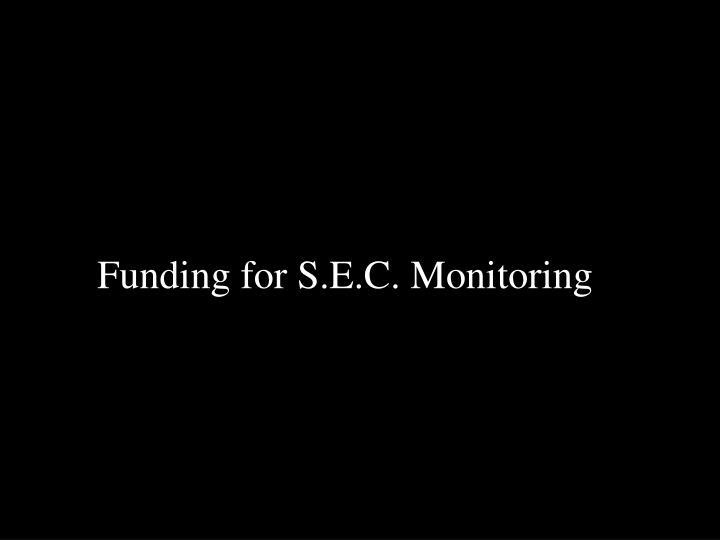 Funding for S.E.C. Monitoring
