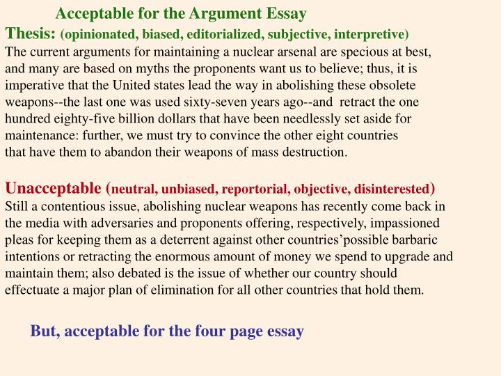 Acceptable for the Argument Essay