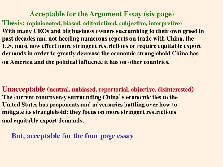 Acceptable for the Argument Essay (six page)