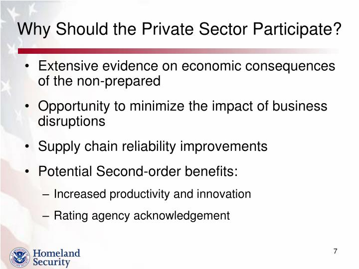 Why Should the Private Sector Participate?