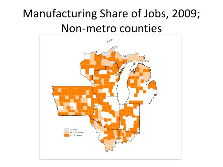 Manufacturing Share of Jobs, 2009; Non-metro counties