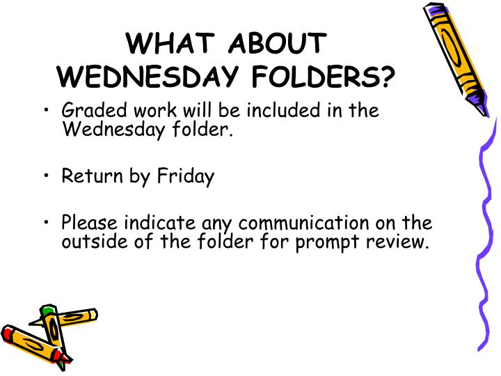 WHAT ABOUT WEDNESDAY FOLDERS?