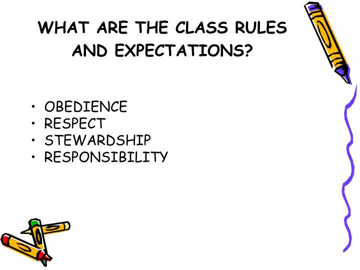 WHAT ARE THE CLASS RULES AND EXPECTATIONS?