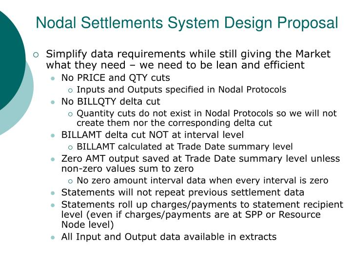 Nodal Settlements System Design Proposal