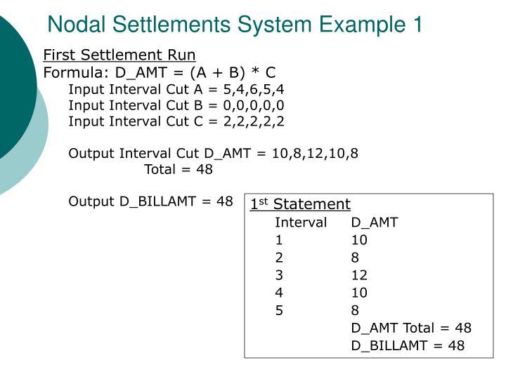 Nodal Settlements System Example 1