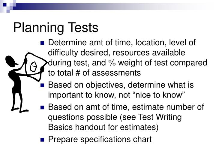 Planning tests
