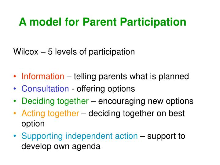 A model for Parent Participation