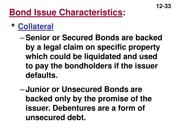 Bond Issue Characteristics