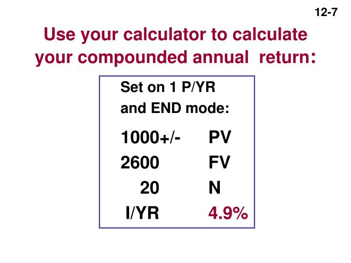 Use your calculator to calculate your compounded annual  return