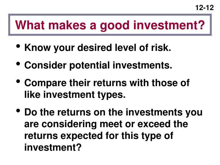 What makes a good investment?